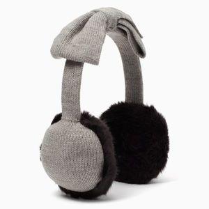 Kate spade half bow faux fur earmuffs nwt in grey
